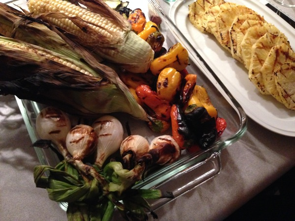 grilled veggies, corn and pineapple