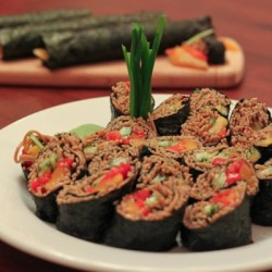 Vegan sushi rolls using noodles instead of rice, plus a zesty teriyaki dipping sauce.