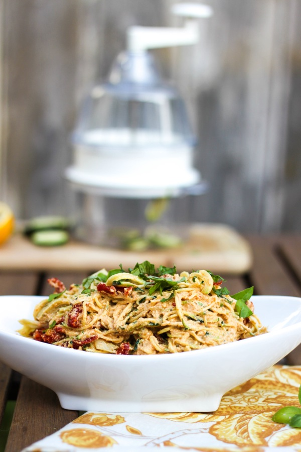 Zucchini pasta salad with creamy cashew sauce