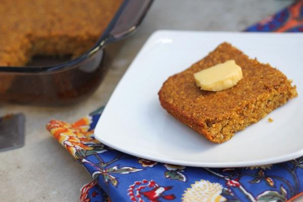vegan, gluten-free pumpkin cornbread