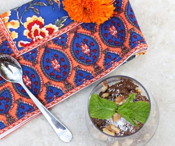 Chocolate avocado chia pudding