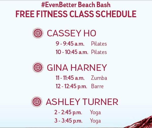 Even Better Beach Bash Fitness Class Schedule