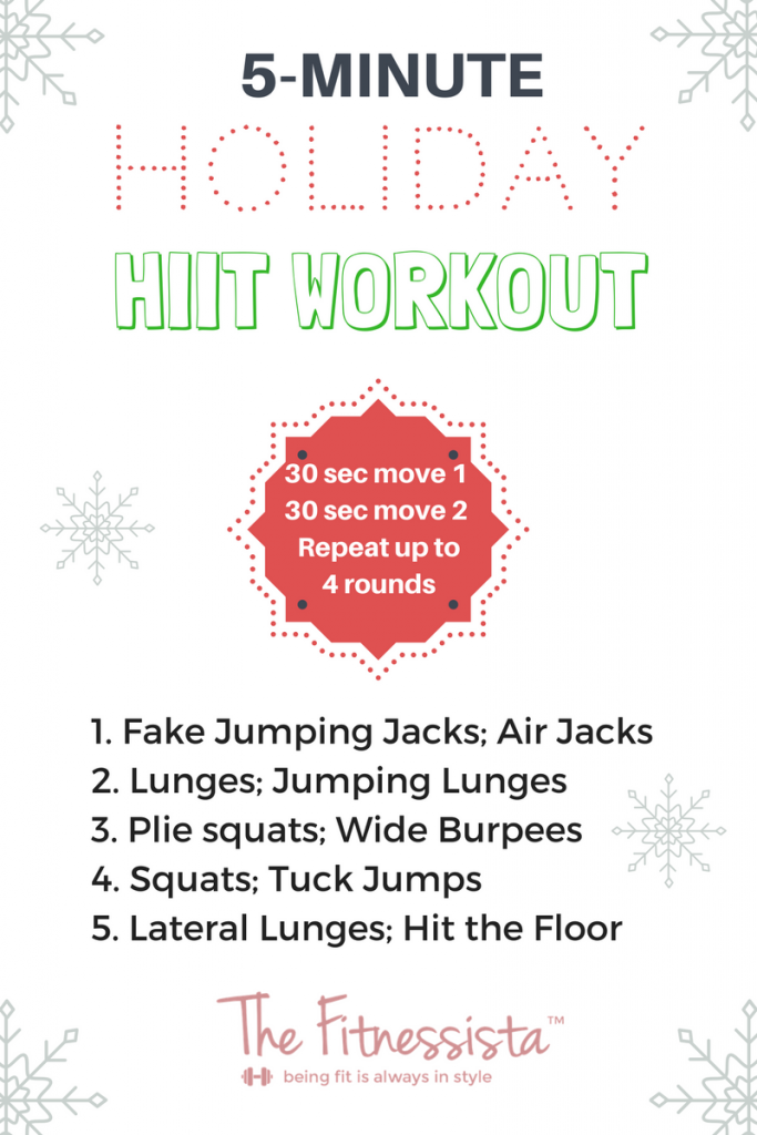This 5-minute workout is built on research-based HIIT methods to burn the max amount of calories in a short amount of time. Perfect for the busy holidays! fitnessista.com #holidayhiit #hiitworkout #holidayworkout #fiveminuteworkout #quickworkout