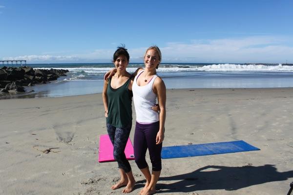 Friend beach workout