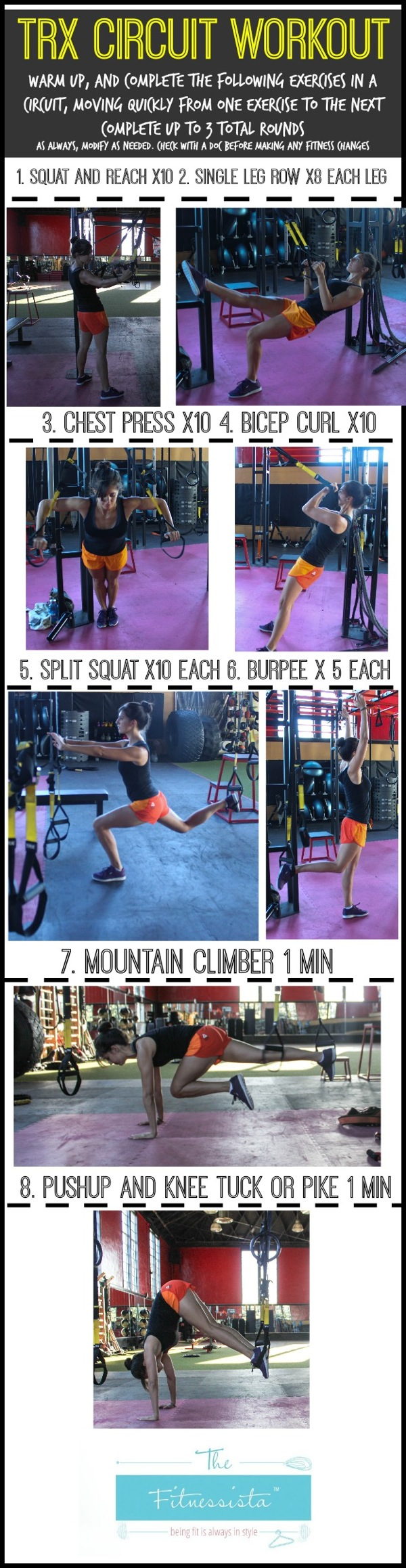 TRX circuit workout - get a killer strength and cardio workout that also works your core! fitnessista.com | #trxworkout #trx #trxhowto