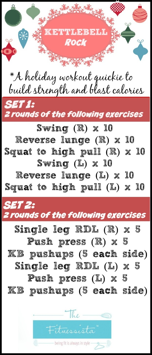Kettlebell rock workout - a holiday workout to build strength and blast calories. fitnessista.com | #holidayworkout #kettlebellworkout #strengthworkout #quickworkout