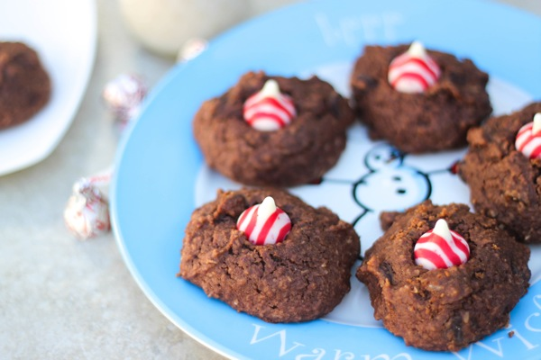 plate of maple chocolate kiss cookies