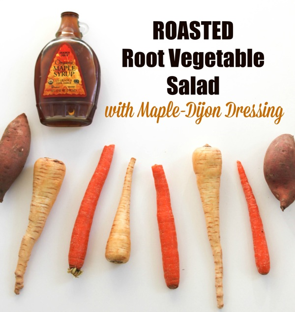 Roasted root vegetable salad with maple dressing