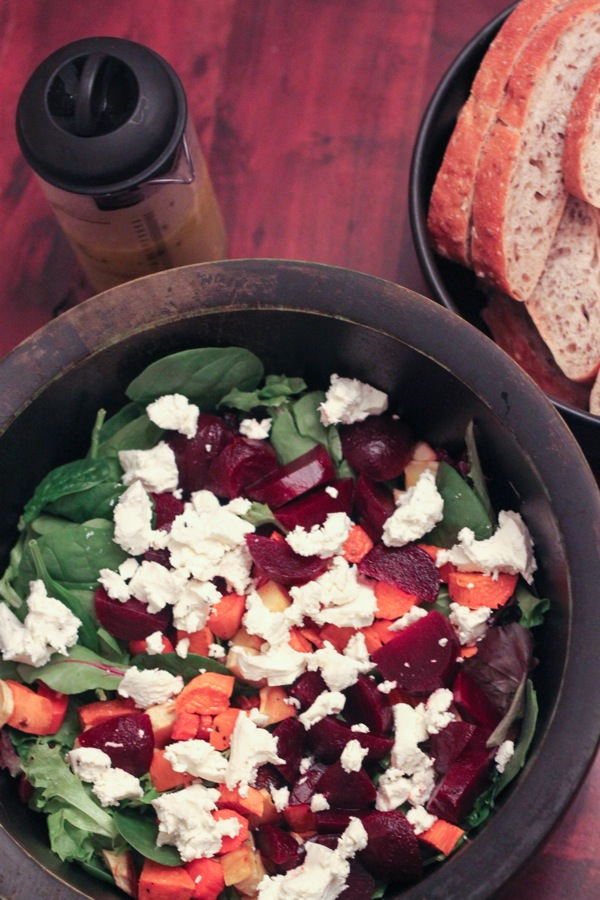 roasted root vegetable salad with maple-dijon dressing