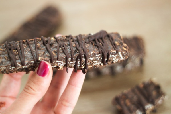 Chocolate protein bar close up