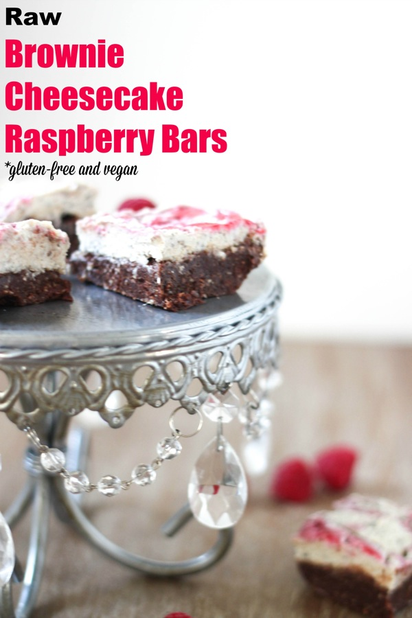 Raw brownie cheesecake raspberry bars - the perfect healthy, Valentine's Day treat! | fitnessista.com | #healthyvalentinesday #healthydessert #rawdessert #rawcheesecake #rawbrownies #vegandessert #veganvalentinesday