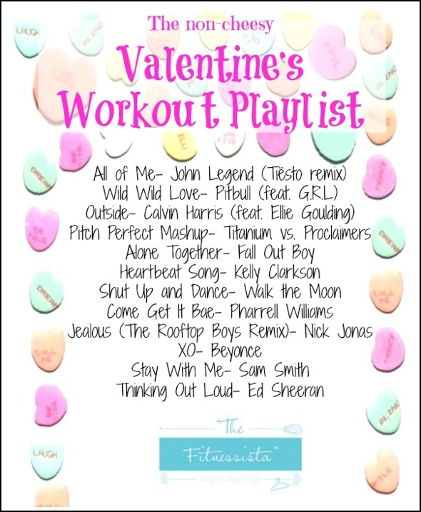 Valentine workout playlist - The non-cheesy version! Use this playlist and accompanying workout guidelines to get your sweat on this Valentine's Day! | fitnessista.com | #valentinesday #valentinesdayworkout #valentinesplaylist #valentinesworkoutplaylist