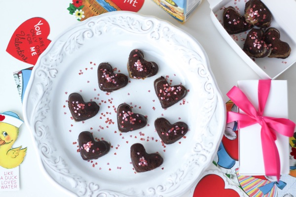 Heart-shaped Dark Chocolate almond milk truffles