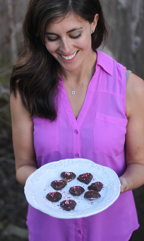 me holding a plate of truffles