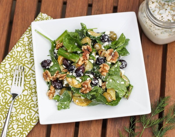 Crunch salad with ranch dressing