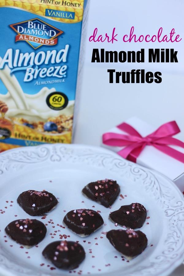 Dark chocolate almond milk truffles