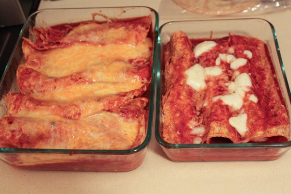 Enchiladas with homemade sauce