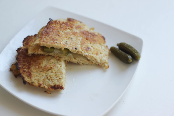 Cauliflower bread grilled cheese and pickles
