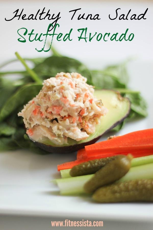 Healthy tuna salad stuffed avocado