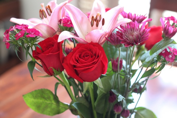 Flowers bouquet - lilies and roses
