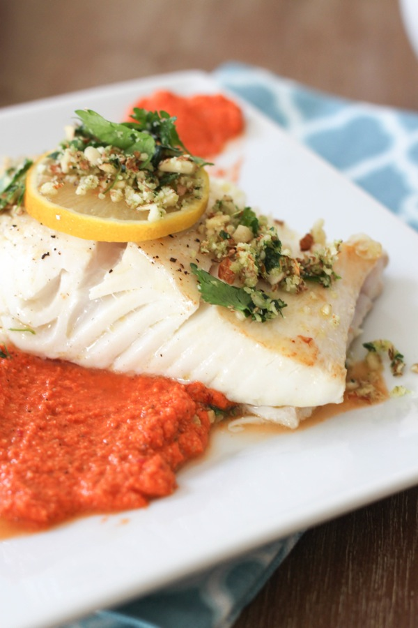seared halibut with romesco sauce