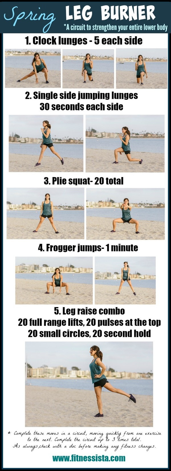Spring leg burner - a no equipment leg workout you can do outside. fitnessista.com