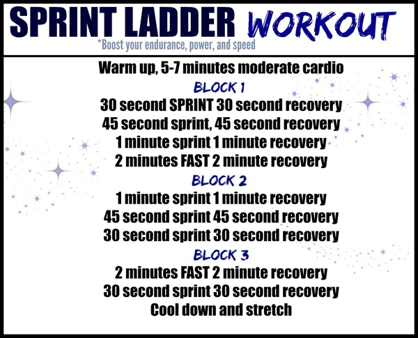 Sprint ladder workout - Add a ladder workout into your routine to boost your endurance, power and speed. This interval workout can be done on a treadmill, bike or stair climber. | fitnessista.com | #sprintladderworkout #ladderworkout #HIIT #Intervalworkout #cardio