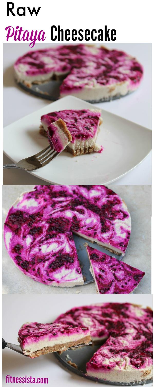 Homemade pitaya cheesecake