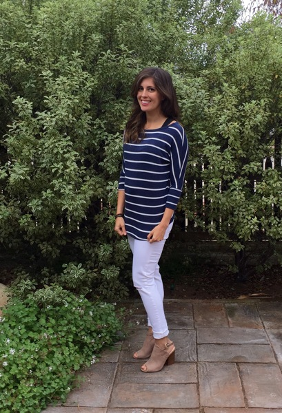 Striped top and white maternity jeans Stitch Fix maternity win