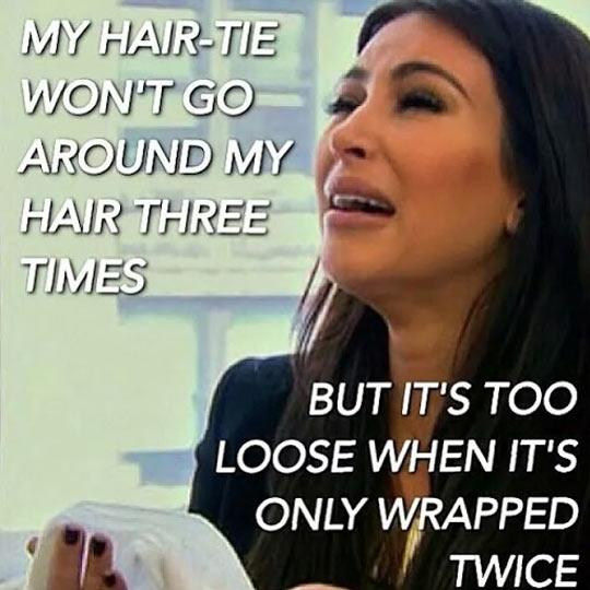 Funny Kim Kardashian crying hair tie