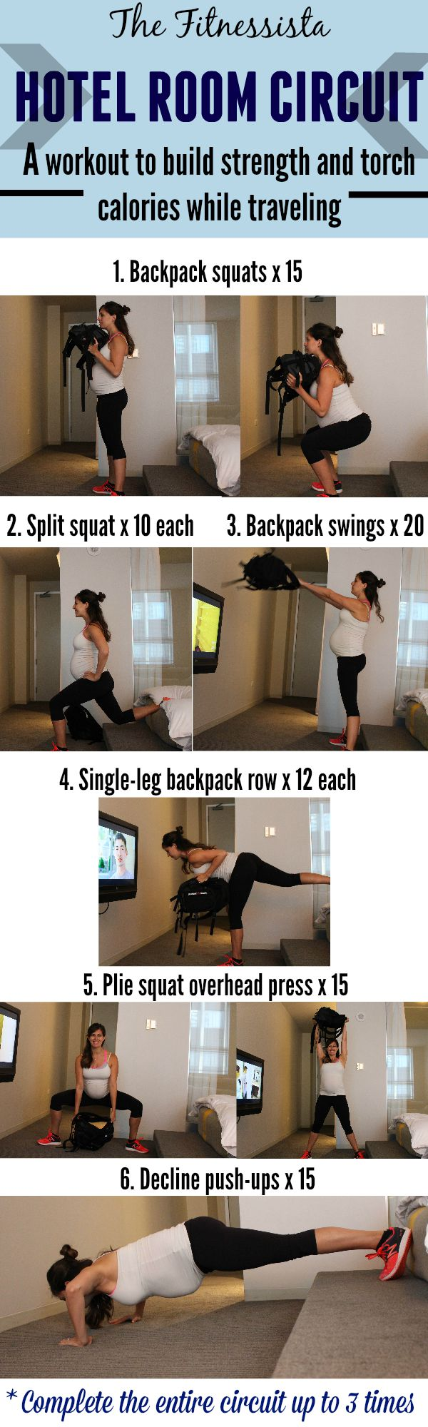 Hotel room circuit workout -- all you need is a backpack to stay fit on vacation! fitnessista.com