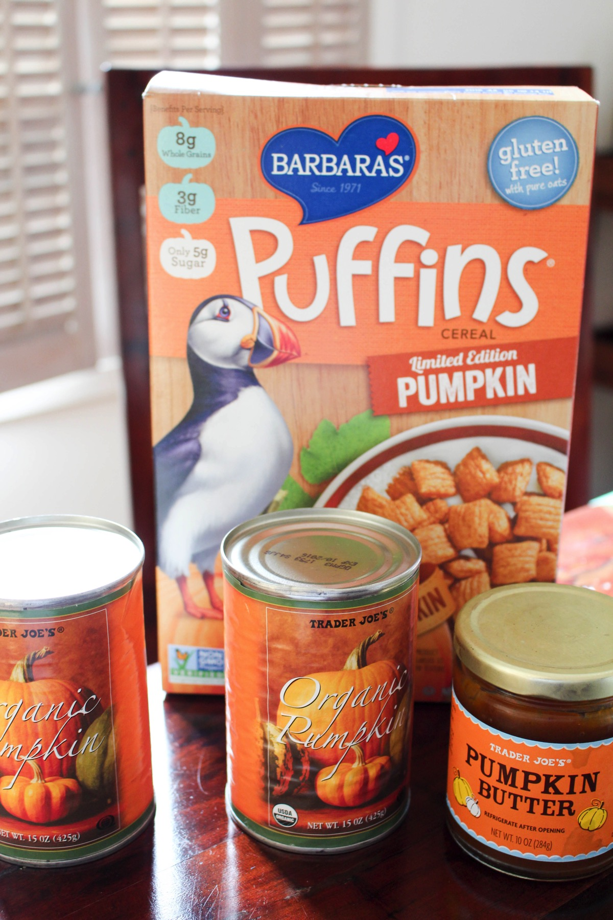 Trader Joe's pumpkin goods--Pumpkin Puffins, Canned Pumpkin and Pumpkin butter
