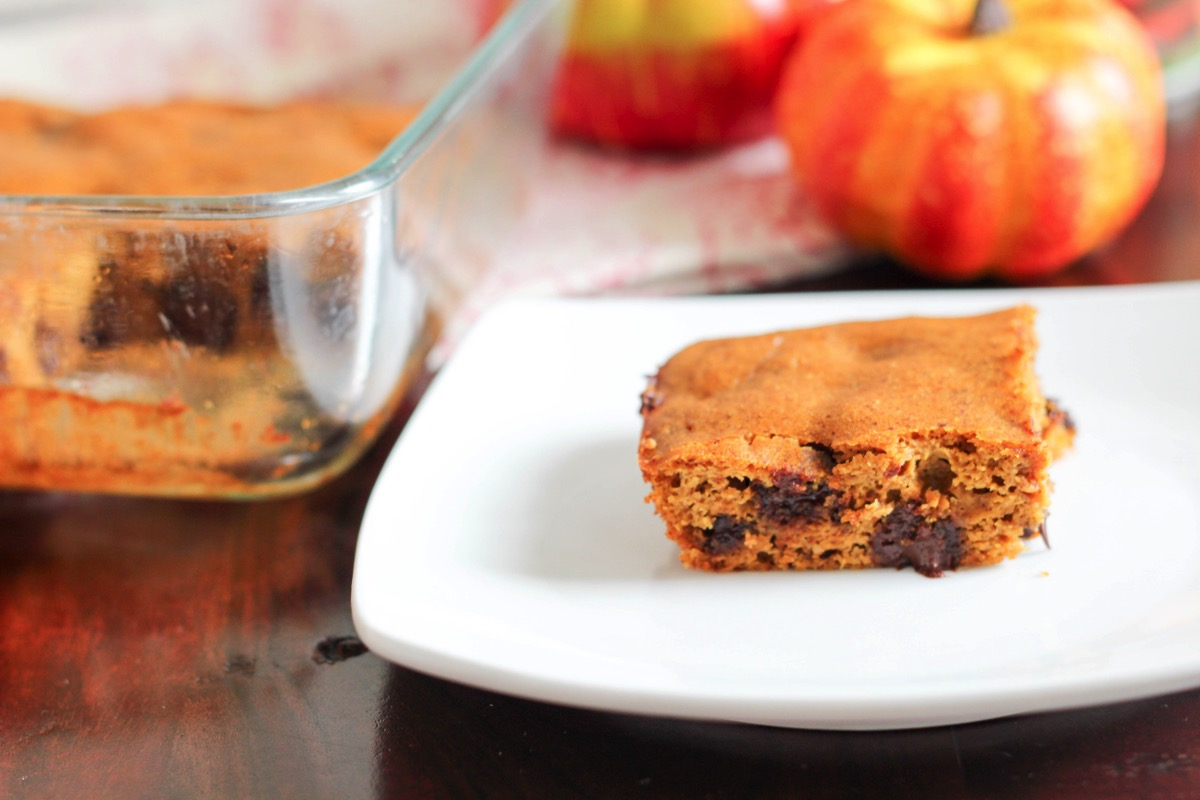 Flourless pumpkin chocolate chip bars made with almond butter for a protein and nutrient packed fall dessert