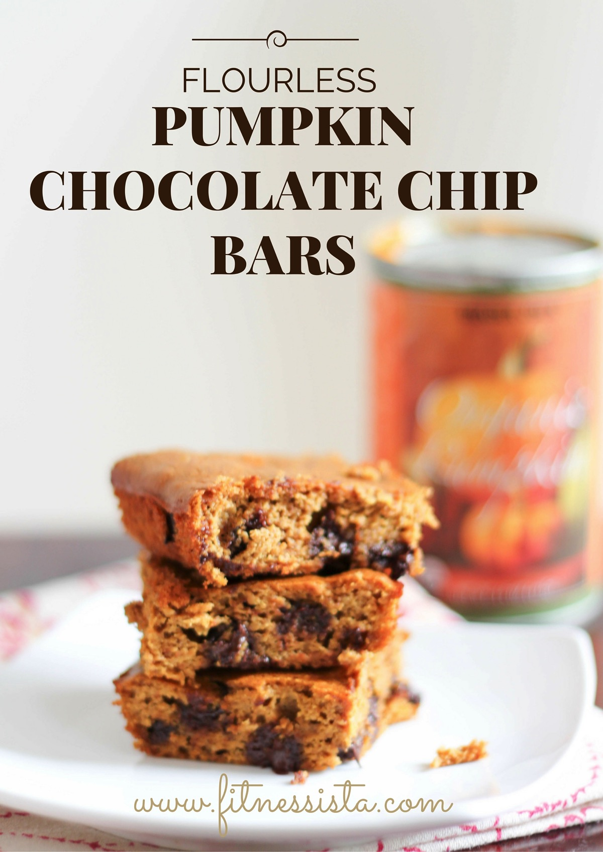 Flourless pumpkin chocolate chip bars are a fall treat packed with nutrients
