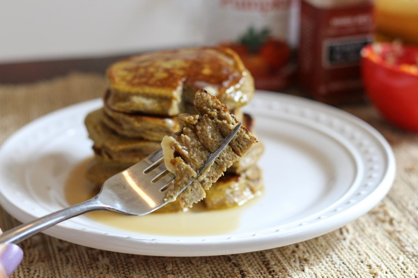 take a bite of pumpkin banana protein pancakes this fall