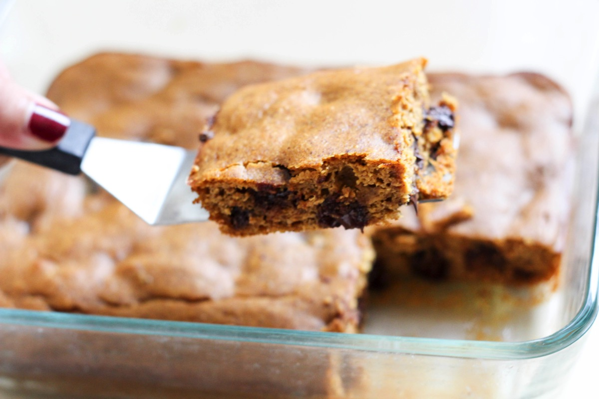 A closeup of pumpkin chocolate chip bars for your fall dessert