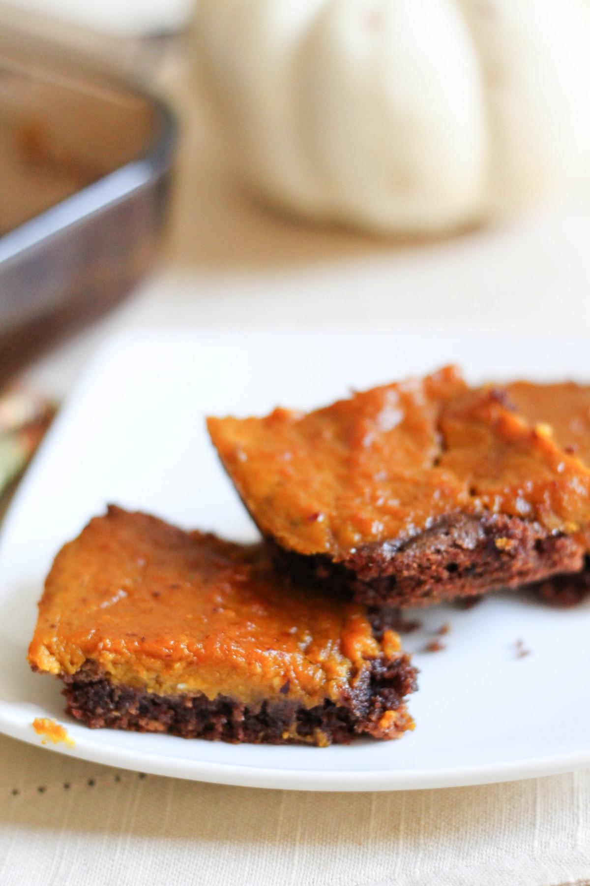 Stack of Pumpkin pie brownies