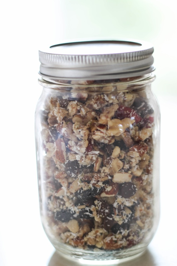 mason jar of paleo granola