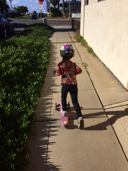 Liv on her scooter