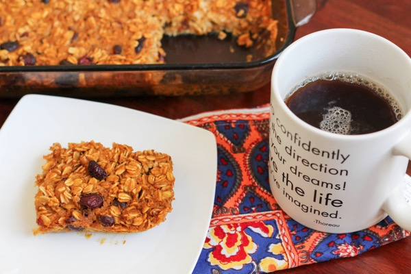 Pumpkin oatmeal baked breakfast with coffee