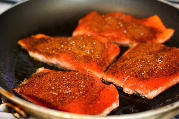 Searing salmon