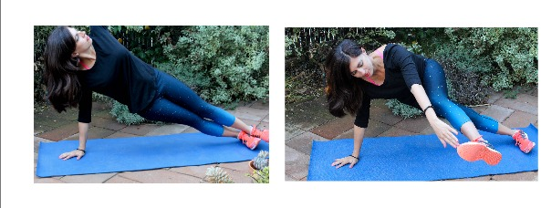 Side plank with front leg raise
