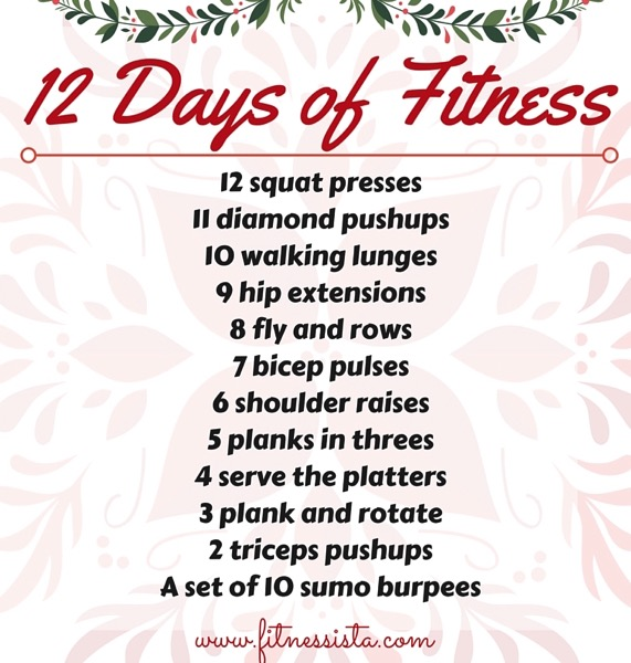 12 days of fitness workout - Here's a quick workout you can do anywhere. All you need is a set of dumbbells. fitnessista.com #12daysoffitness #Christmasworkout #holidayworkout #strengthworkout #quickworkout