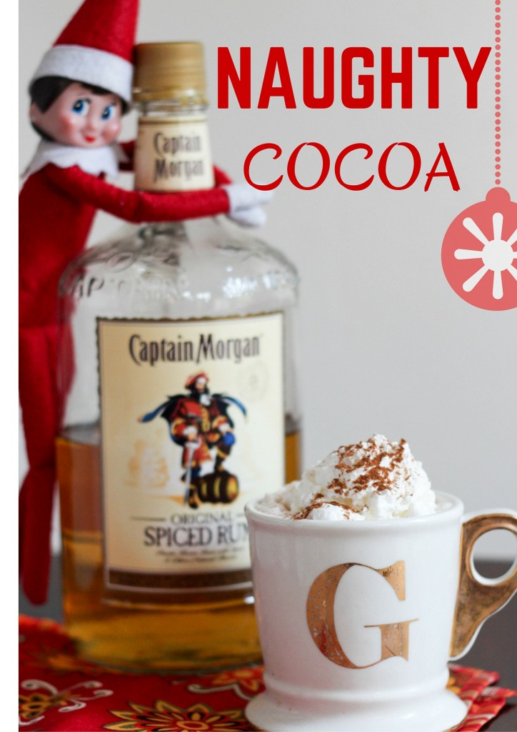 NAUGHTY COCOA with with Elf on the shelf hugging rum bottle