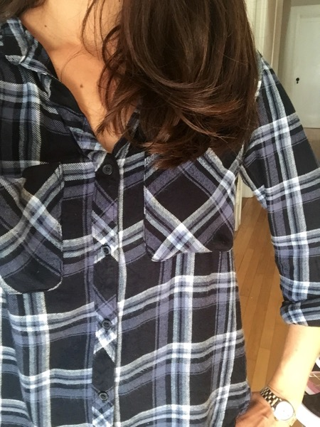 Plaid button down closeup Stitch Fix win