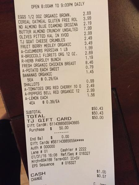 Trader Joe's receipt