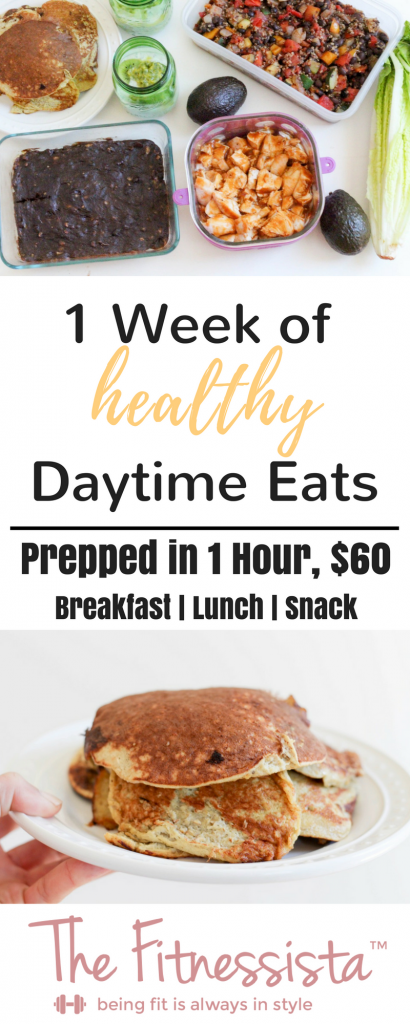 Here's your step-by-step meal prep plan for one week of healthy daytime eats, including grocery list! Meal planning can help you save time, money, and stick with your healthy eating goals. | fitnessista.com | #mealprep #healthymealplan #mealplan