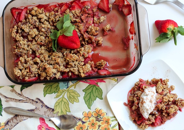 Healthy Strawberry Crumble with Coconut Whip