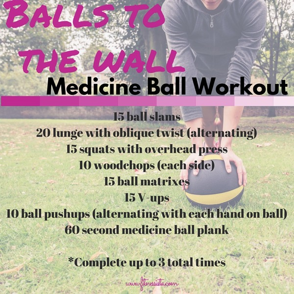 Elevate your heart rate, add core stabilization and resistance with this medicine ball workout! fitnessista.com | #medicineball #totalbodyworkout #medicineballworkout