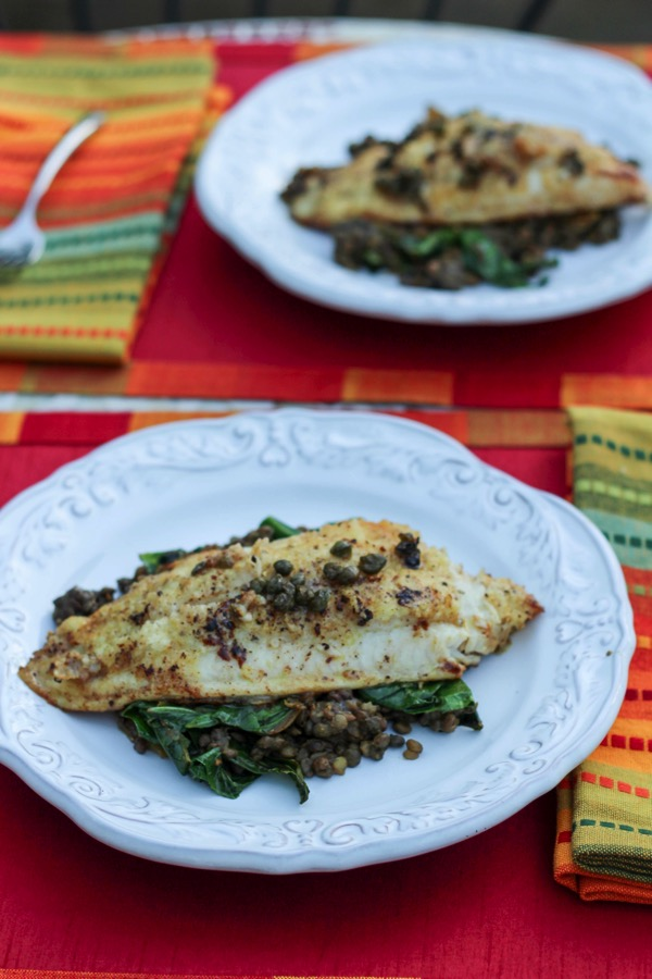 Catfish with lentils